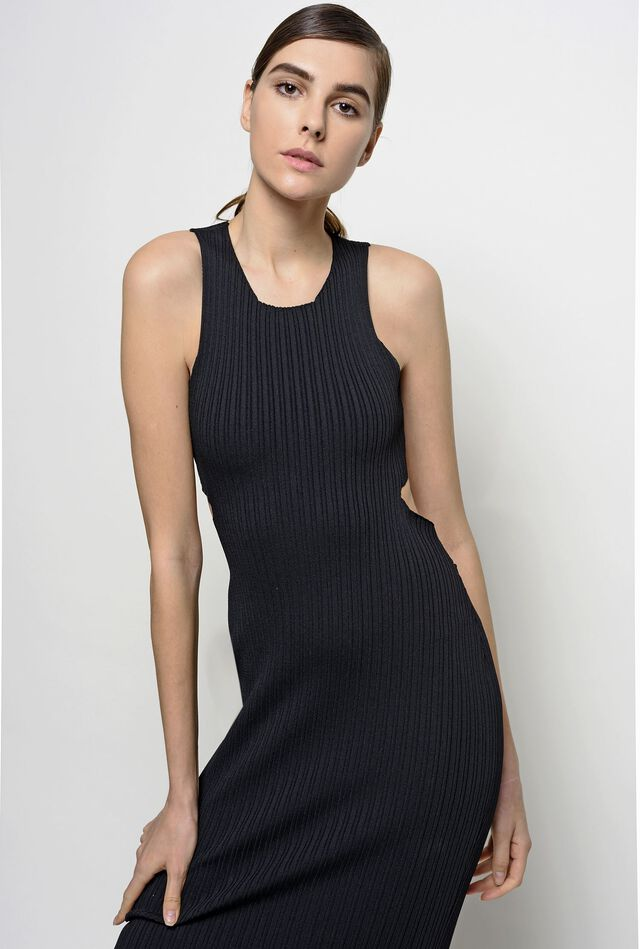 Tight-fitting dress in ribbed viscose