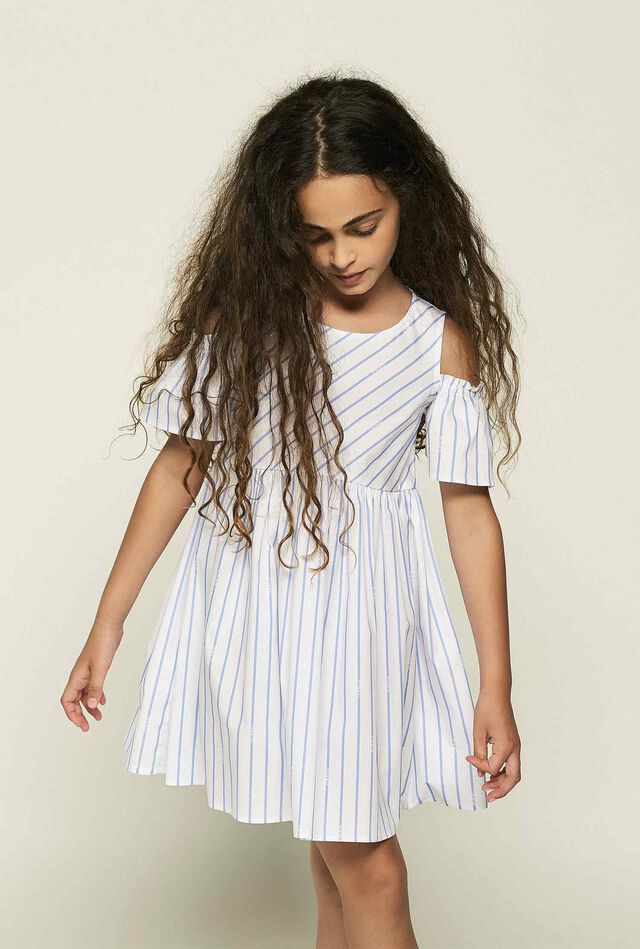 Logo stripe stretch cotton dress