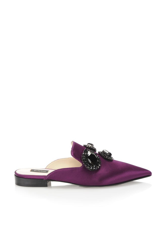 Satin mules with jewel appliqués