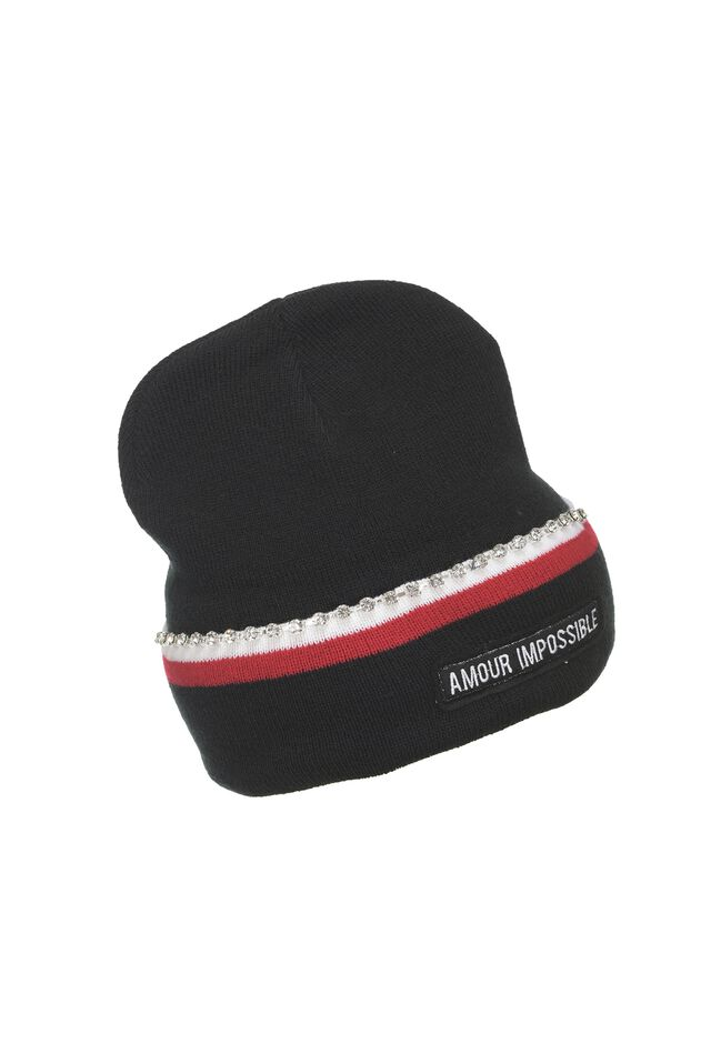 Ribbed beanie with cuff and rhinestones