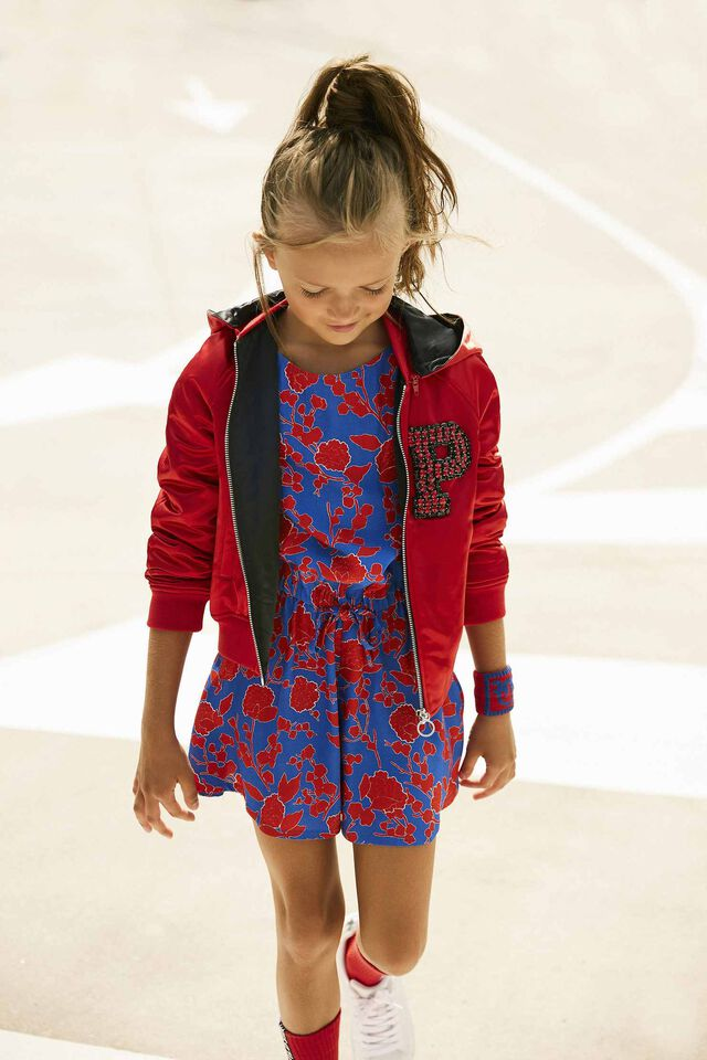 Short jumpsuit with raspberry print