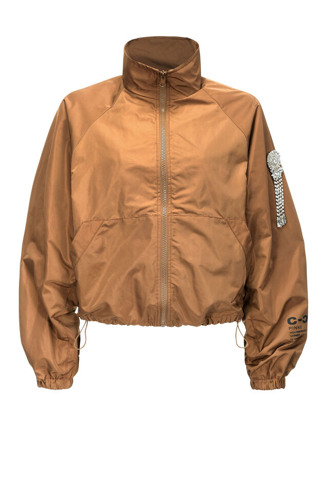 Short raincoat in technical twill
