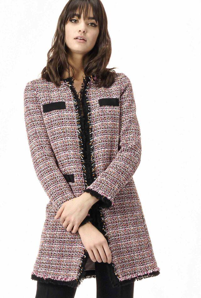Tweed overcoat with fringed edges