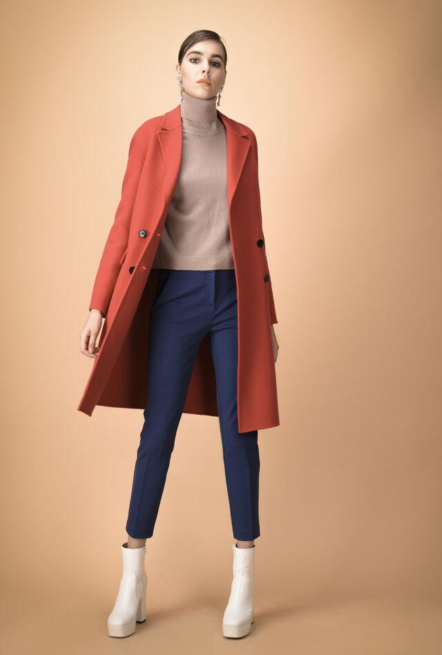 Double-breasted Melton coat