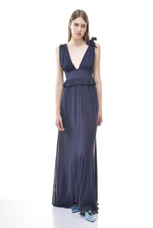 Maxi robe en crépon avec col en V