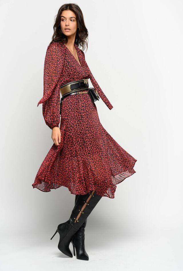 Red animal pattern jacquard dress