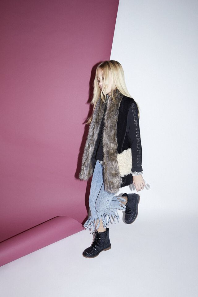 Gilet in faux fur effetto patchwork