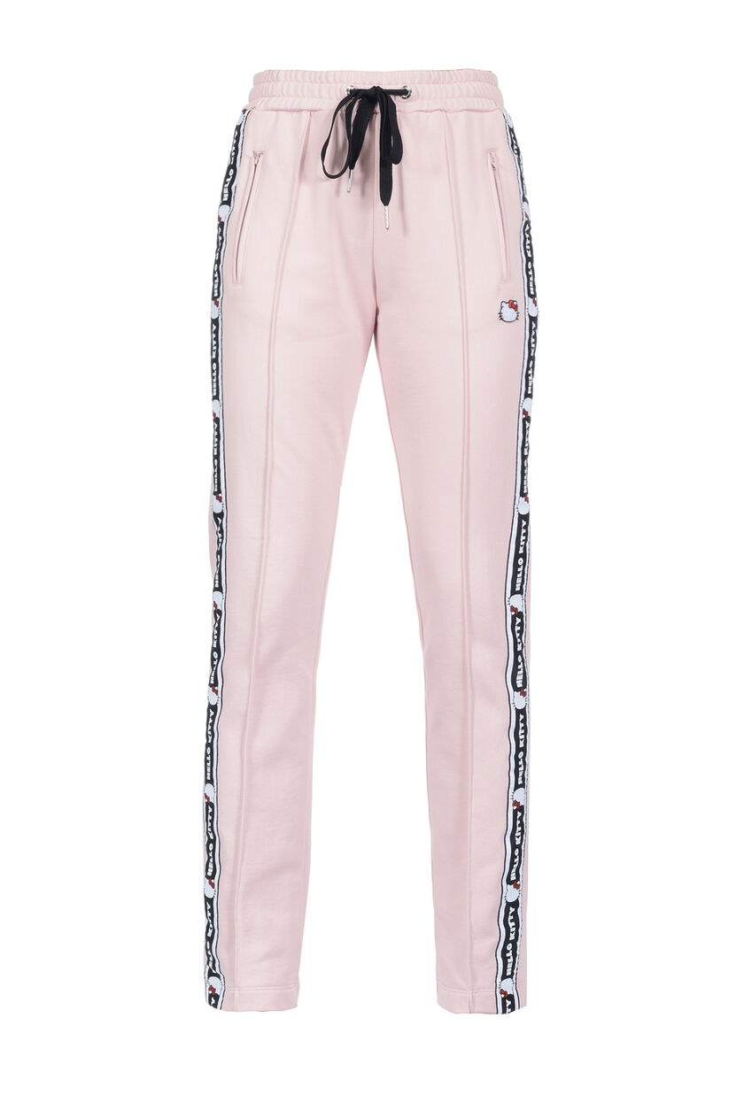 Pants in technical fleece fabric with appliquéd side band