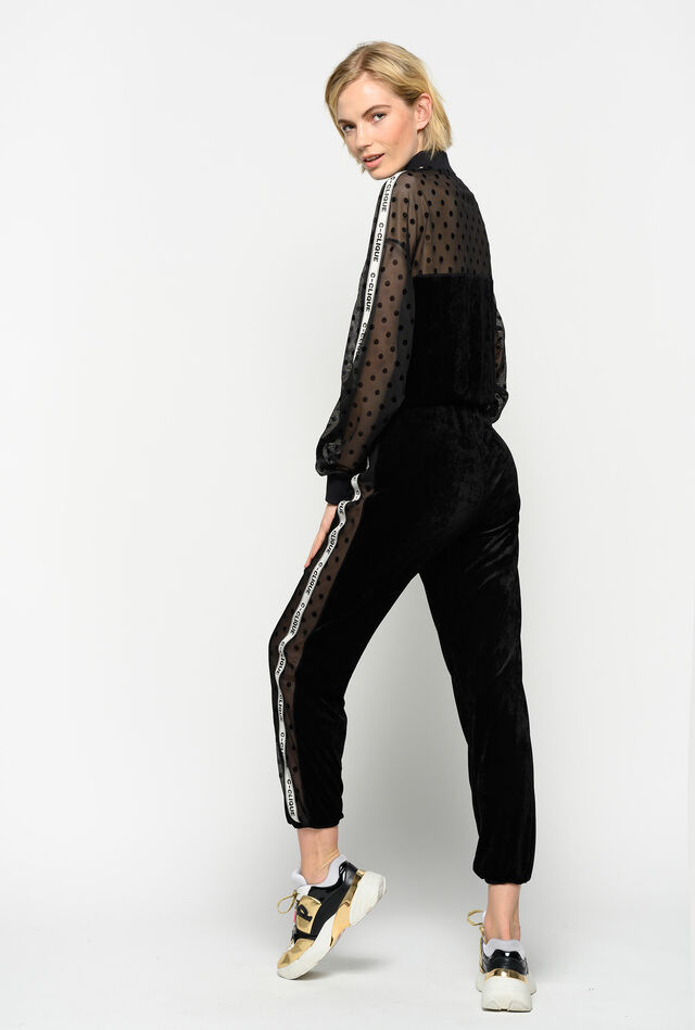 Chenille and mesh jogging bottoms