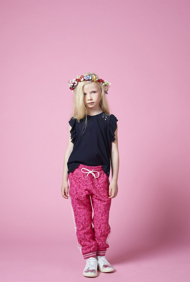 Flower lace trousers