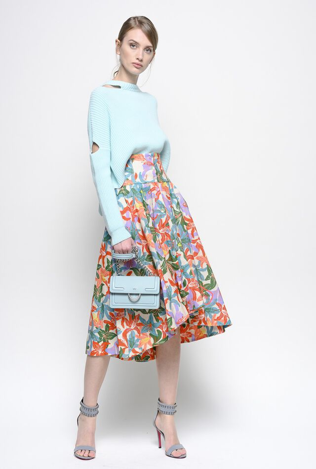 Flared skirt in floral print linen and cotton