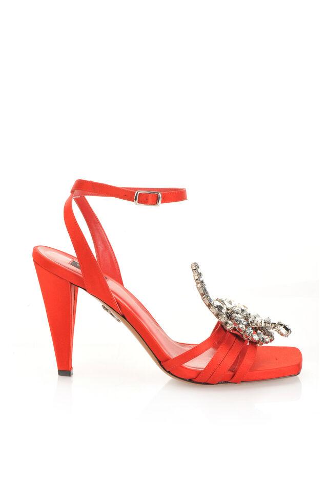 Satin sandals with jewel appliqué