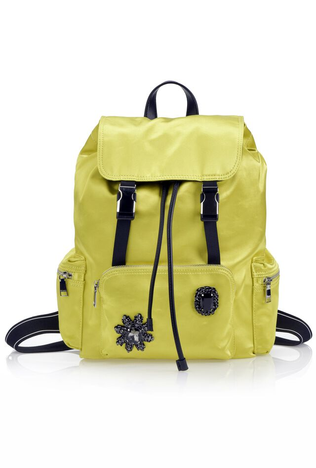 Satin backpack with rhinestones and shoulder straps with rubberised logo band