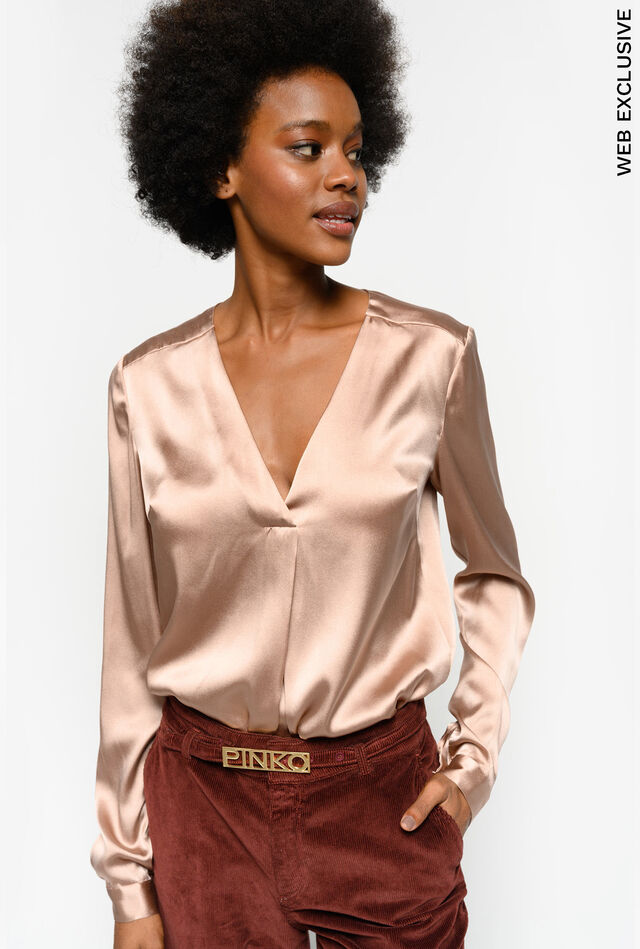 Stretch satin blouse