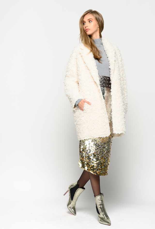 Mongolian sheep faux fur coat