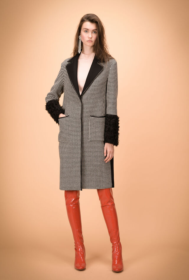 Patchwork coat with faux fur inserts
