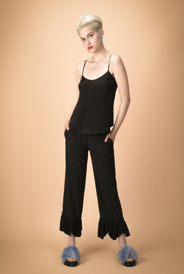Crêpe trousers with flared flounce
