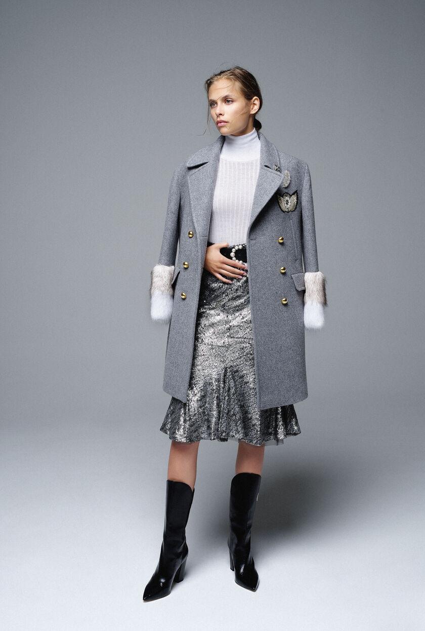 Military coat in wool broadcloth
