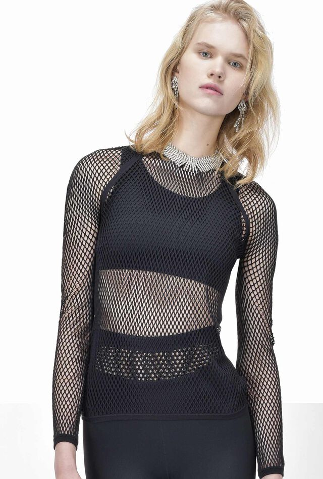 Long-sleeve seamless mesh top