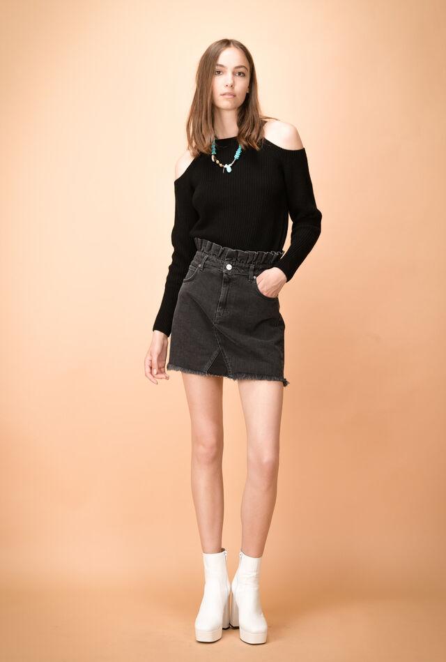 Denim miniskirt with frayed hem and ruffles