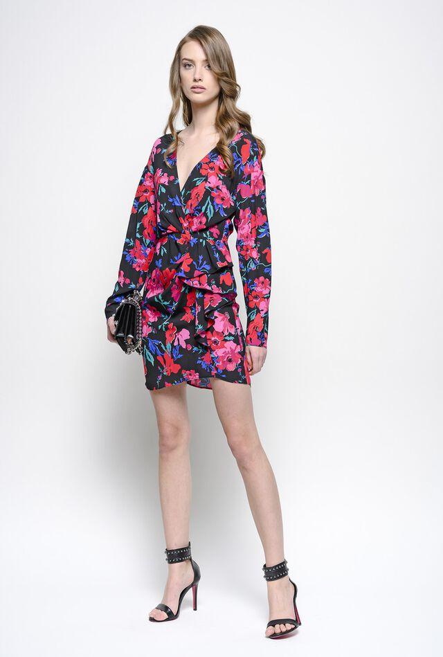 Mini dress with micro-flower print