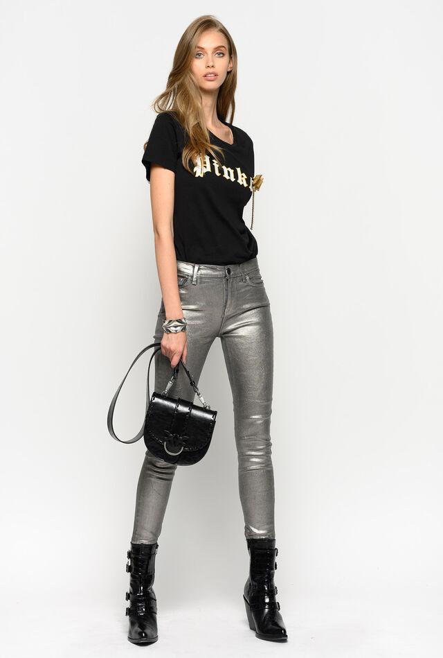Skinny jeans in metallic stretch denim