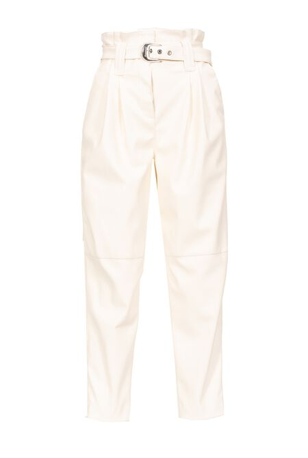 Belted Leather Look Trousers