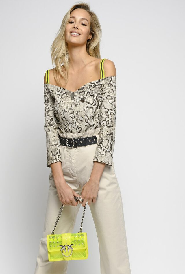 Off-the-shoulder jacket in snake print ottoman