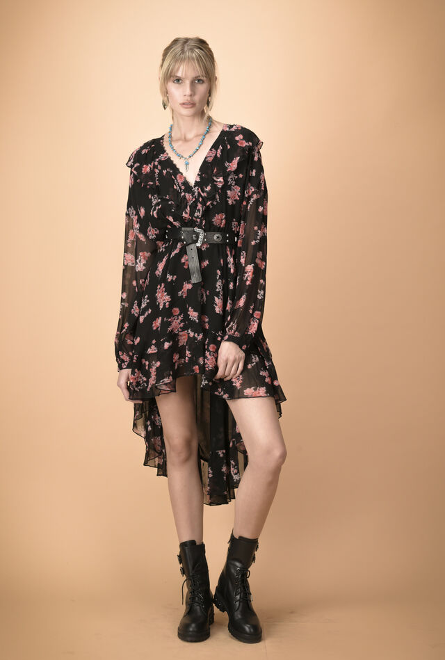 Asymmetric creponne wrap dress with flowers