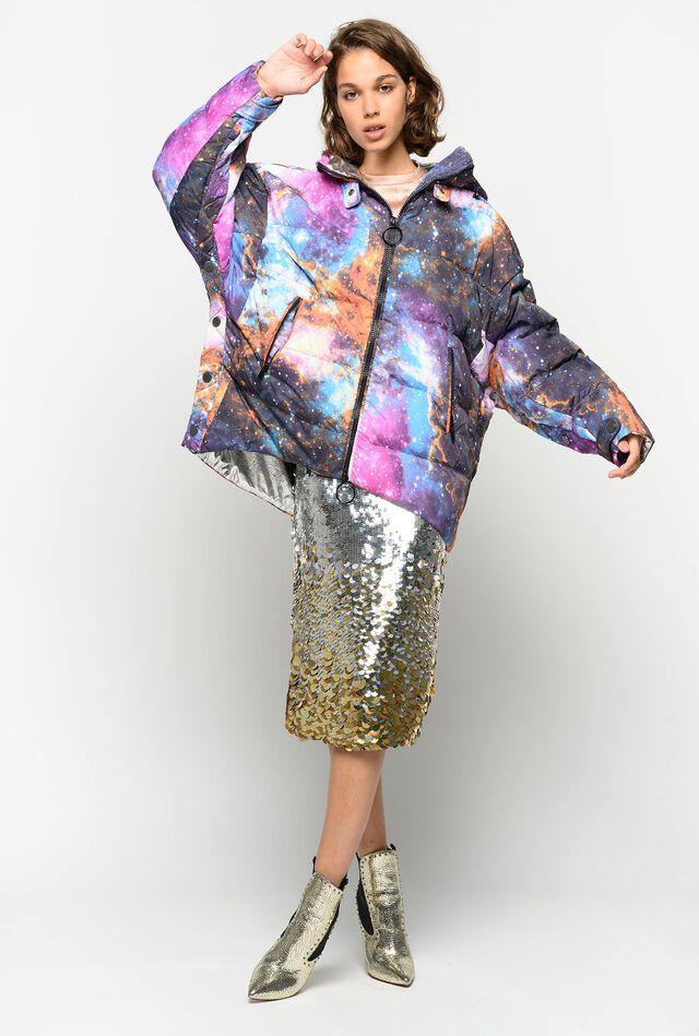 Galaxy-print duvet coat
