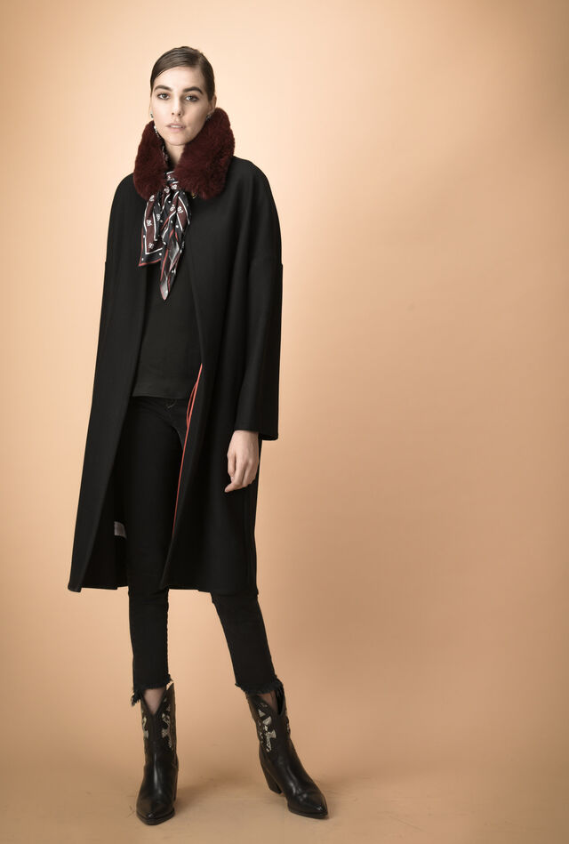 Melton coat with belt
