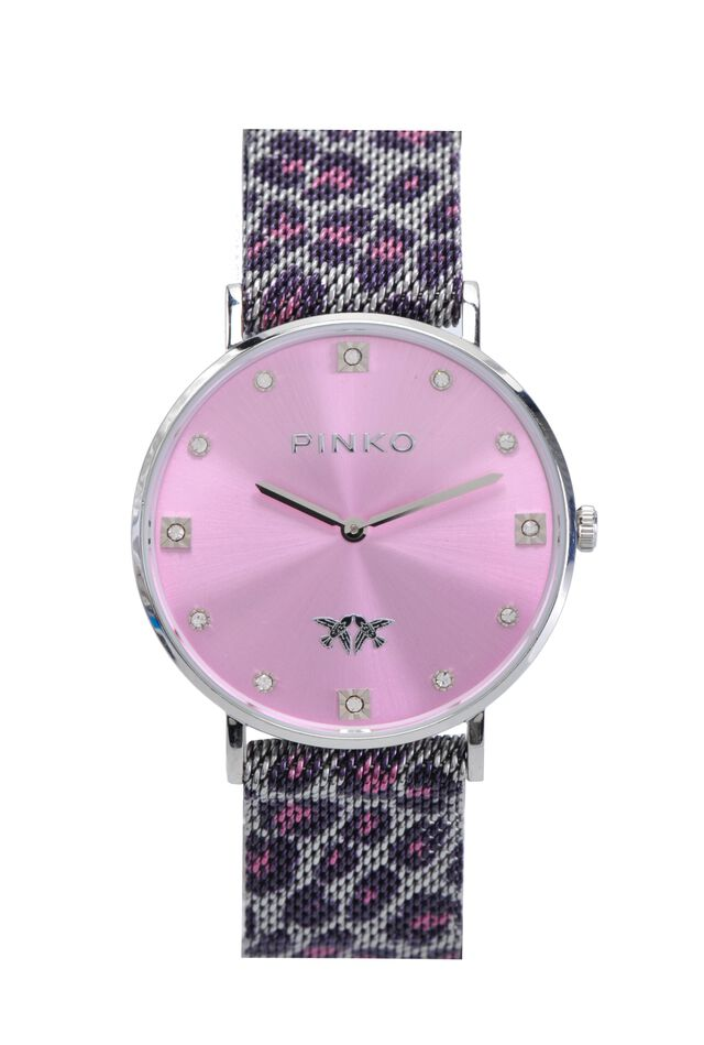 Watch with metal mesh strap and leopard pattern