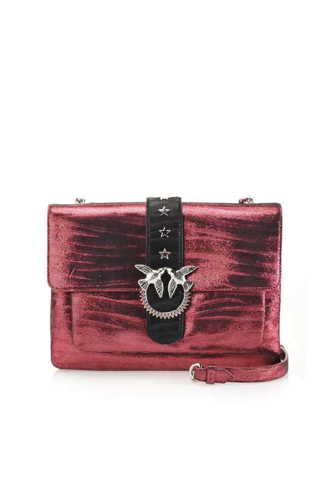 Big Love Bag Soft Zebra Metal in pelle stampa zebra metallizzata