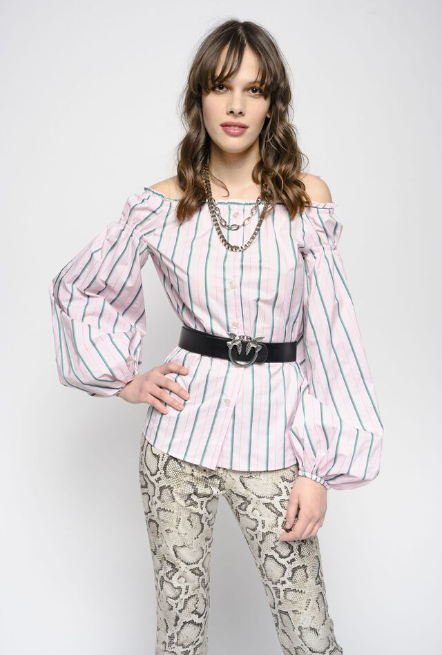 Blusa off-shoulders a righe
