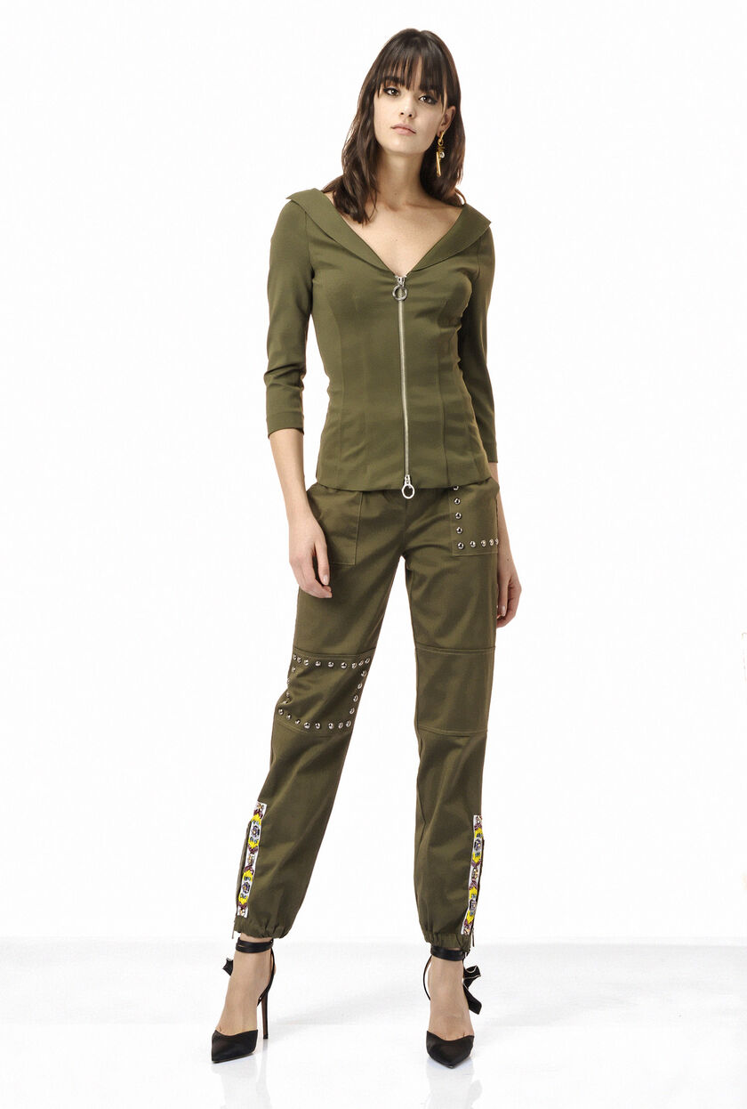 Stretch satin trousers with appliqués