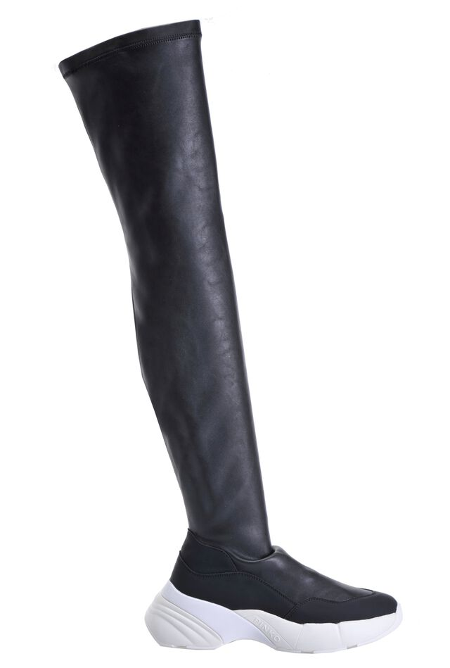Nappa leather look thigh-high sneaker boots