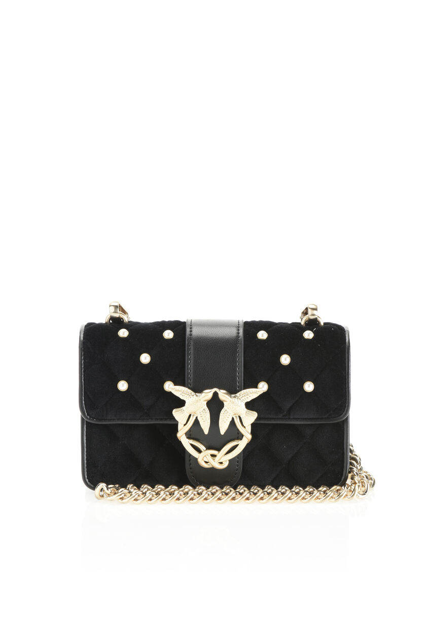 Velvet mini Love Bag with bejewelled buckle