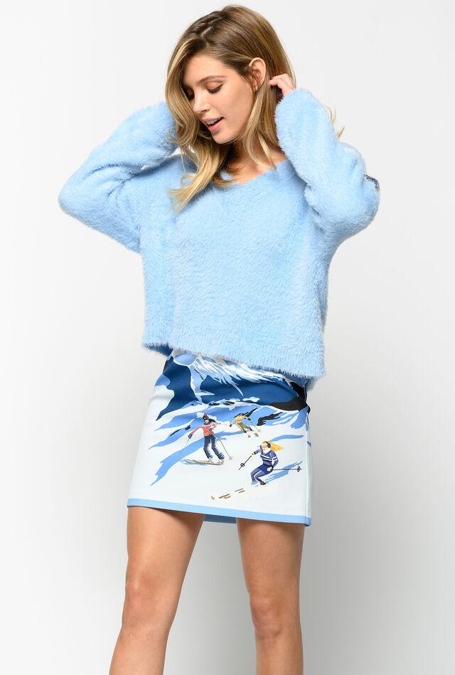 Minifalda con estampado de esquiadores