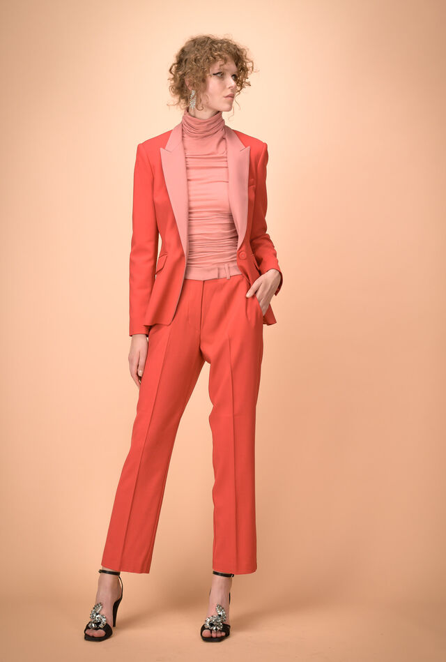 Two-colour trousers in technical wool