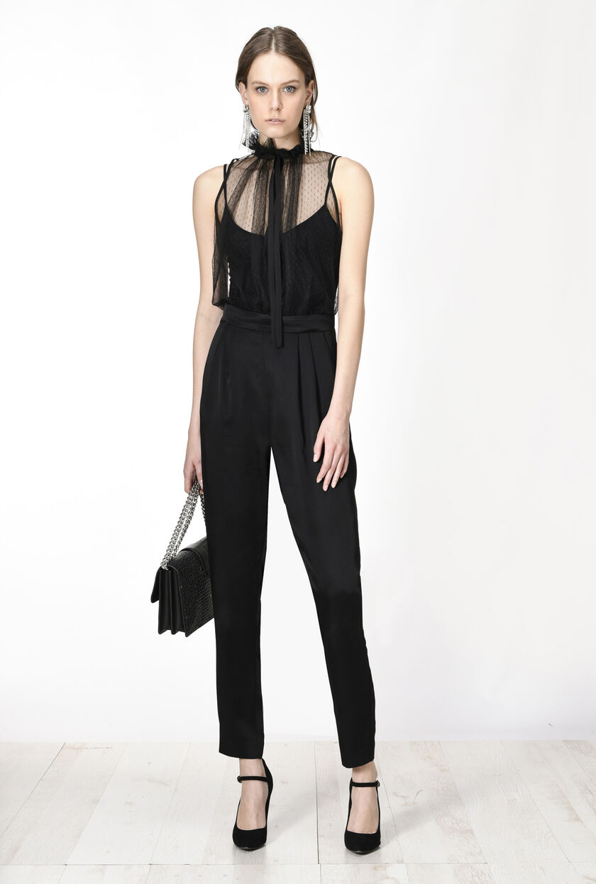 Flowing satin jumpsuit