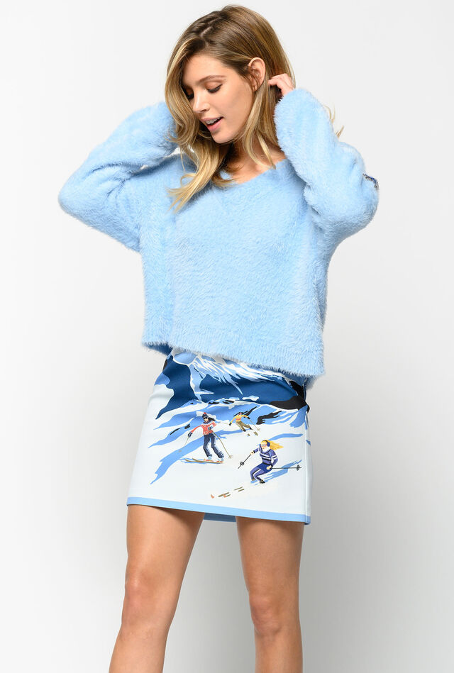 Skier print mini skirt