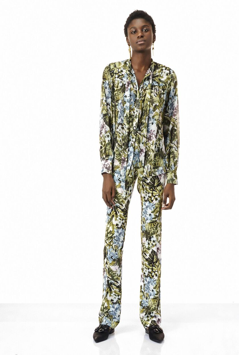 Jungle print georgette shirt