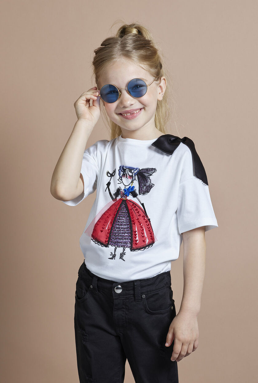 Camiseta de punto elástico con adorno central