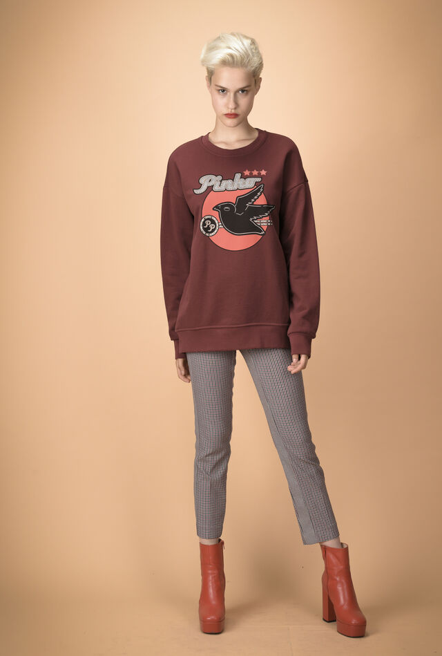 Sweatshirt with print and cut-out