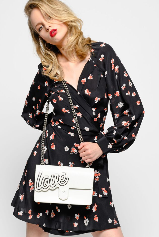 Silk crepe de Chine dress with floral print