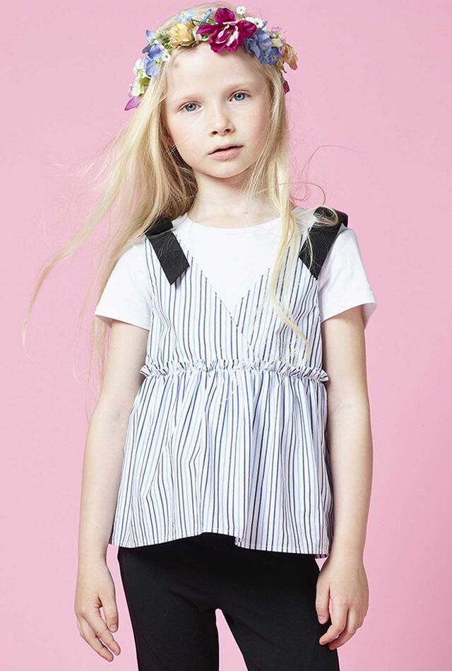 Striped jersey and poplin top