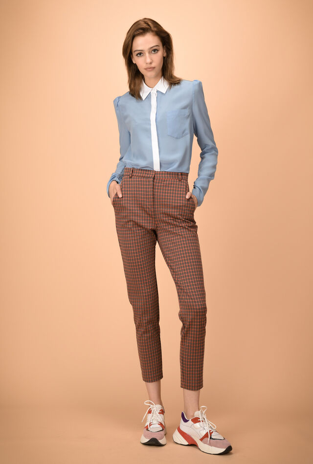 Cropped jacquard trousers