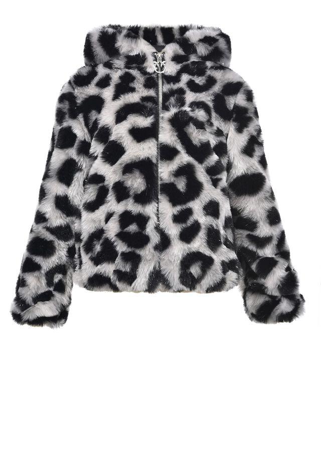 Blouson à imprimé léopard avec capuche