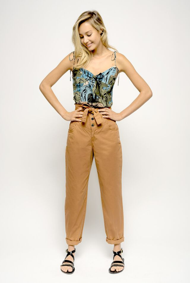 Bustier-style high-waist trousers
