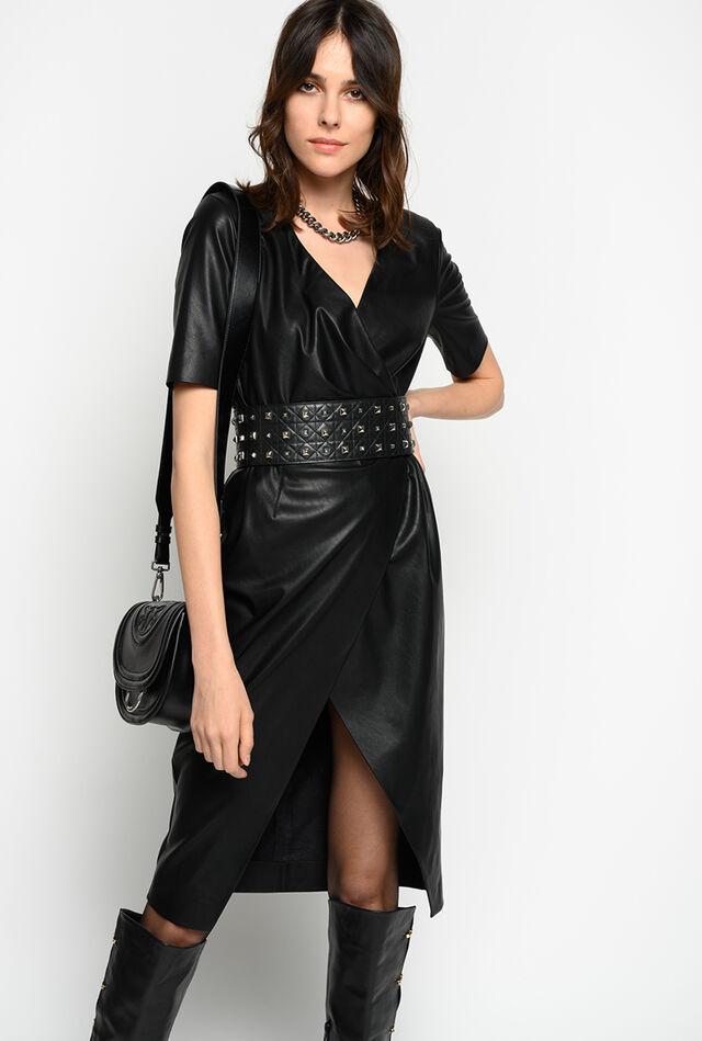 Leather look wraparound dress
